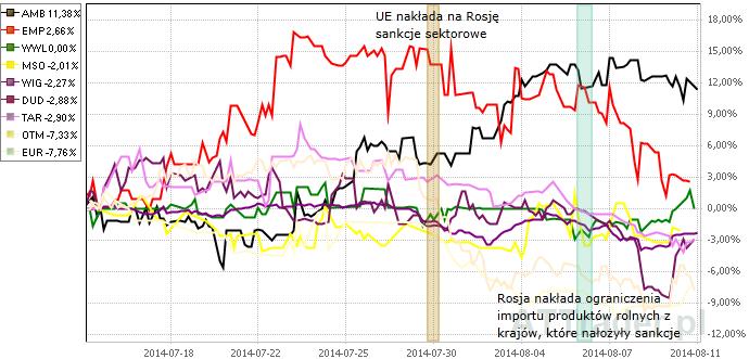 Powyżej porównanie zachowania kursów akcji ośmiu omawianych spółek oraz indeksu WIG na przestrzeni ostatniego miesiąca.