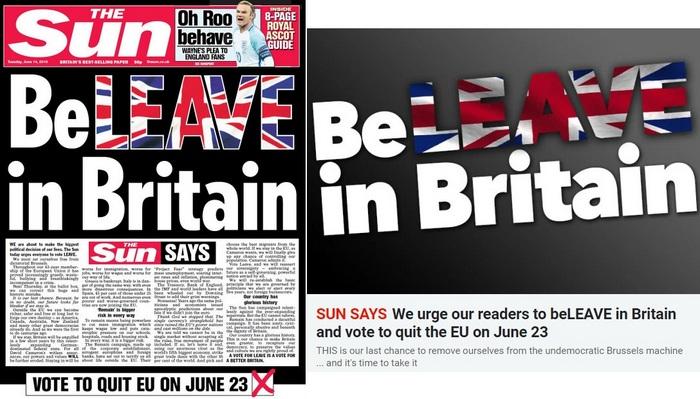 Po lewej okładka wieczornego wydania gazety, po prawej internetowego wydania The Sun.