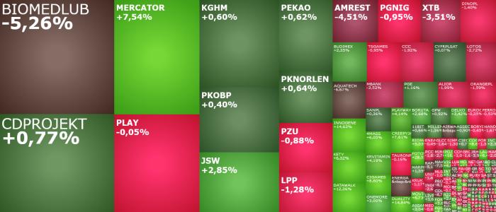 mercator, biomedlub, agora, amrest, komentarz, akcje, indeksy,